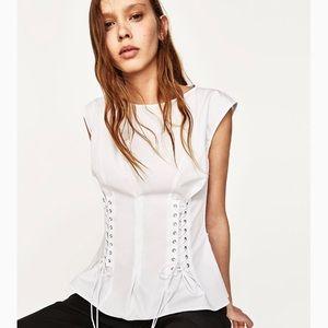 BNWT- ZARA poplin cotton corset top